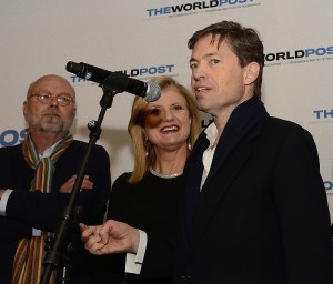 Nathan Gardels, Arianna Huffington and Nicolas Berggruen. The launch of The World Post in Davos.