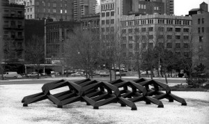 Tony Smith Smug, 1973 Plywood mock-up  Installation St. John's Rotary, NYC 1989 Photo: James Shepperd © Tony Smith Estate /Artists Rights Society (ARS), New York