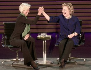 Hilary Clinton and Christine Lagarde Courtesy of Livestream1