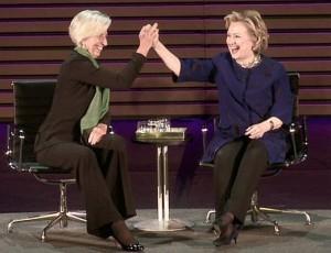 Hilary Clinton and Christine Lagarde Courtesy of Livestream1