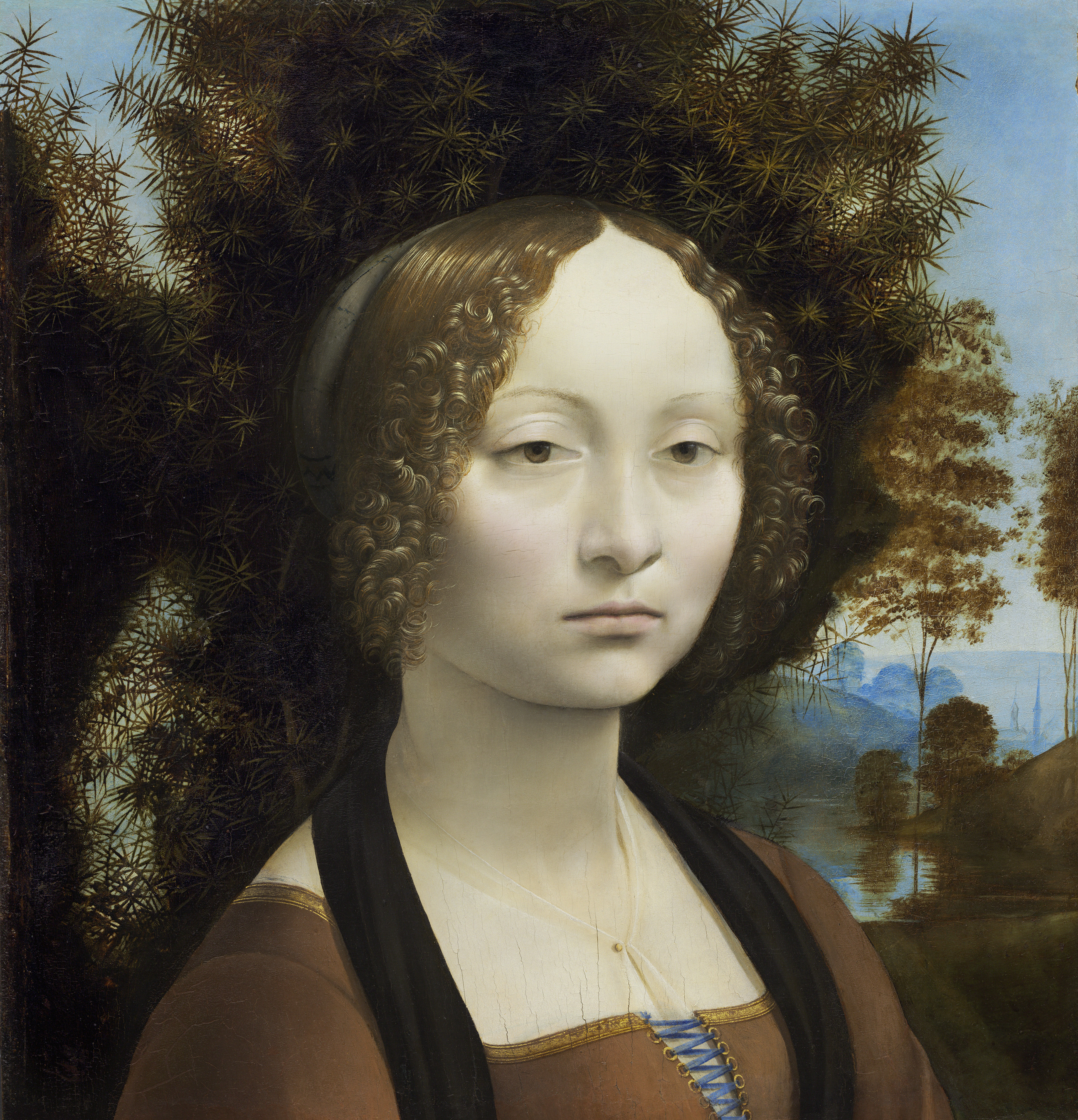 Leonardo da Vinci, Ginevra de' Benci, c. 1474/1478, oil on panel, Ailsa Mellon Bruce Fund