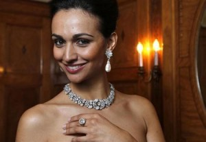 A model wears Bulgari jewellery during an auction preview at Sotheby's in Geneva