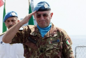 UNIFIL Force Commander Major General Claudio Graziano salutes during a handover ceremony on board an Italian naval ship