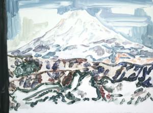 Fujisan #3, 2014, Monotype on handmade paper, Copyright Elizabeth Peyton