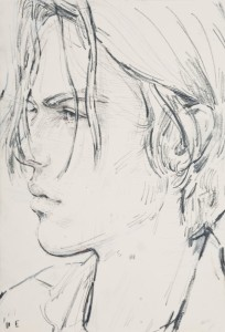 E (Elias), 2013, pencil & amp; pastel on paper, Copyright Elizabeth Peyton