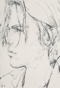 E (Elias), 2013, pencil & amp; pastel on paper, Copyright Elizabeth Peyton