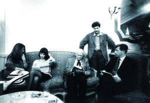 (L to R) Carmen Llera Moravia, Elisabetta Sgarbi, Alberto Moravia, Alain Elkann and Mario Andreose.