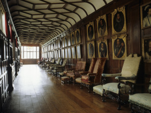 The Brown Gallery with rows of 16th and 17th Century portraits at Knole, Sevenoaks, Kent