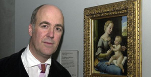 Charles Saumarez Smith with Raphael's Madonna of the Pinks. Photograph: Michael Stephens/PA