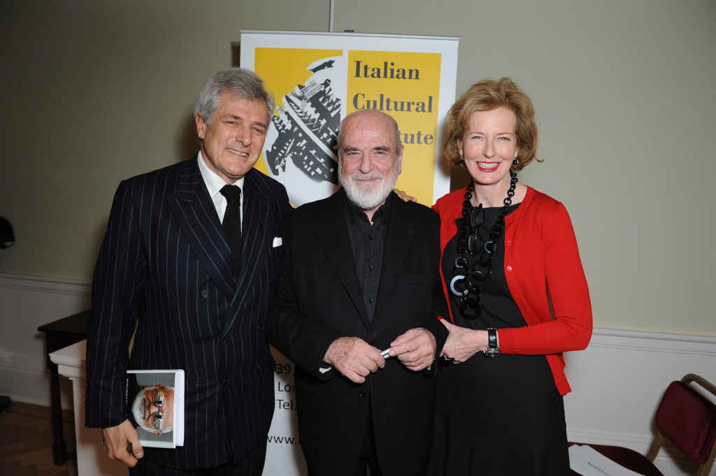Alain Elkann, Michelangelo Pistoletto and Julia Peyton-Jones launched The Voice of Pistoletto in conversation together at the Italian Cultural Institute in London on November 14th. Photograph ©Edward Lloyd & used by kind permission of Edward Lloyd Photography.