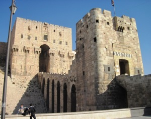 Entrance to the Citadel of Aleppo.