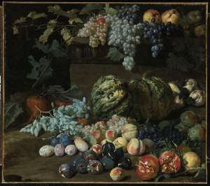 HIERONYMUS GALLE THE ELDER, Pumpkins, Grapes, Peaches, Plums, Pomegranates, Pears, Figs, Apples, And Turnips By And On A Plinth Signed on the plinth: GIROLIMO. GALLE. f. Oil on canvas 39½ by 44½ in.; 100.3 by 113 cm. Estimate: $30,000-50,000. Courtesy, Sotheby's.