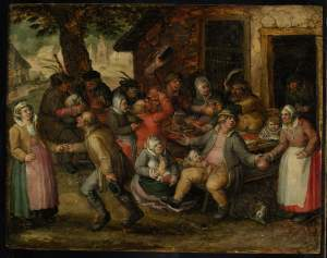 DAVID VINCKBOONS, Peasant Feast Signed in monogram and and dated upper right: DvB 1606 Oil on panel 9¾ by 12⅝ in.; 24.8 by 32.1 cm, Estimate: $60,000-80,000. Courtesy, Sotheby's.