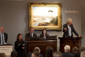 Henry Wyndham as auctioneer for the Turner, with George Wachter visible standing on the left. Courtesy, Sotheby's.