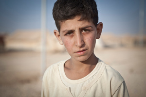Maher, 13, is a resident of Za'atari refugee camp, Jordan. Jonathan Hyams