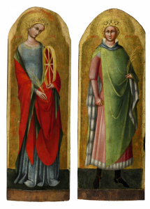 LORENZO VENEZIANO, Saint Catherine of Alexandria and Saint Sigismund of Burgundy, circa 1368 Inscribed on either side of the figures' heads: CATA / RINA and SIGIS / MONDO respectively A pair, both tempera on panel, gold ground, with arched tops Saint Catherine: 38⅞ by 12⅞ in.; 99 by 33 cm.; Saint Sigismund: 38½ by 13¾ in.; 98 by 35 cm. Estimate: $600,000-800,000 Courtesy, Sotheby's.