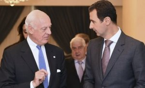 Staffan de Mistura with Bashar al-Assad in Damascus.