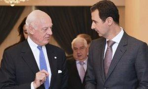 Staffan de Mistura with Bashar al-Assad in Damascus.