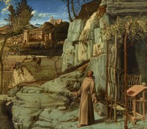 Giovanni Bellini (c. 1430/35 - 1516) St. Francis in the Desert, c. 1475-1478 Oil on panel 49 1/16 x 55 7/8 in. (124.6 x 142 cm) Henry Clay Frick Bequest