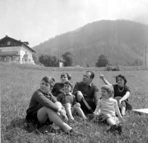 On holiday in 1961 with his wife Livia and their four children