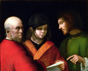 The Three Ages of Man, c.1500-01 (panel) by Giorgione, (Giorgio da Castelfranco) (1476/8-1510); 62x77.5 cm; Palazzo Pitti, Florence, Italy; Italian, out of copyright