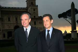French Prime Minister Nicolas Sarkozy Visits French Academy In Rome.