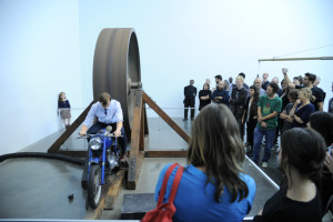 Crowds checking out the Chris Burden exhibition at the New Museum, photo: Nick Hunt/PMC