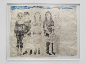 KIKI SMITH, Gathering, 2014, Collage on Nepalese paper, 195.6 x 254 cm, 77 x 100 in. Courtesy of the artist & Galleria Lorcan O'Neill, Roma