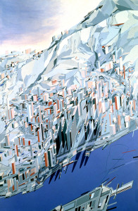 "Hong Kong. ""The Peak, Blue Slabs."" Painting by Zaha Hadid Architects."