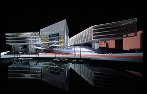 Cardiff Bay Opera House. Model by Zaha Hadid Architects.