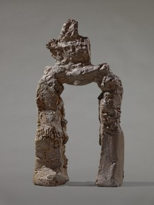 """""""Here and Elsewhere"""". Simone Fattal (b. Damascus, Syria; lives in Paris, France, and Sausalito, CA), Déesse Préhistorique, 2008. Terracotta 24 3/4 x 13 3/4 x 4 in (63 x 35 x 10 cm). Courtesy the artist and Galerie Tanit, Munich/Beirut."""
