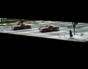 Two Cars and a Woman Waiting, Houston, Texas, 1983, WW