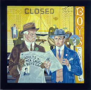 The Newspaper, 1912, 60 x 60 inches, oil on linen, 1987.
