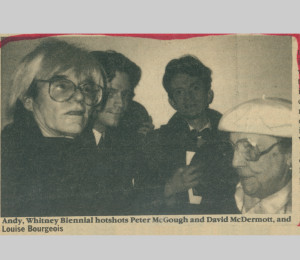 Peter and David w/ Andy Warhol and Louise Bourgeois, clipping from East Village Eye Newspaper. 3.Interior of 113 Avenue C – East Village.