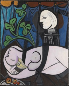 Nude, Green leaves and Bust (also known as Nude with Sculptor's Turntable; Nu au plateau de sculpteur) 1932 by Pablo Picasso 1881-1973