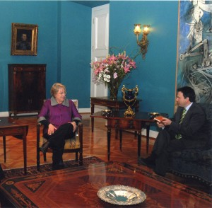 Simon Anholt with Michelle Bachelet, President of Chile