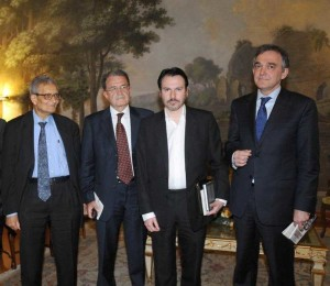 Simon Anholt with Prof. Amartya Sen, On. Romano Prodi and Dr. Enrico Rossi, President of Tuscany