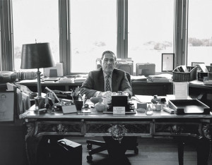 Philippe de Montebello in his office at the Met. Photograph by Lee Clower.