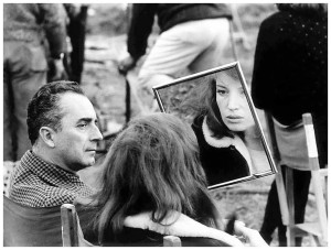 Michelangelo Antonioni and Monica Vitti on the set of Red Desert, 1964