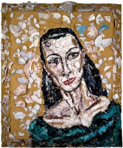 "Portrait of Alba Clemente oil, plates, bondo on wood, 60 x 48"", 1987"