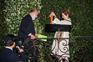 Alice Waters presents the McKim Medal to Carlo Petrini