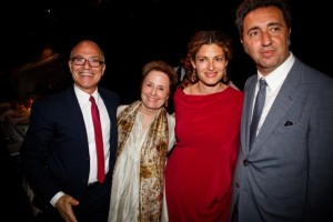 Mark Robbins (President, American Academy in Rome) Alice Waters, Ginevra Elkann (Chair of the Gala Dinner), Paolo Sorrentino (the other McKim Medal Honoree)