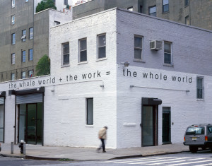 Exterior view of the gallery on 620 Greenwich Street in New York featuring Martin Creed's Work No. 300: the whole world + the work = the whole world, 2003