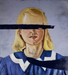 """Large Girl with No Eyes oil and wax on canvas, 162 x 148"""", 2001"""