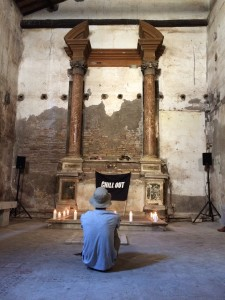 The interior of the Rome gallery with the descralised church and altar. Oliver Payne, Chill Out Performance June, 2015