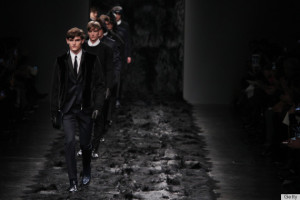 MILAN, ITALY - JANUARY 13: Models walk the runway during the Fendi show as a part of Milan Fashion Week Menswear Autumn/Winter 2014 on January 13, 2014 in Milan, Italy. (Photo by Antonio de Moraes Barros Filho/WireImage)