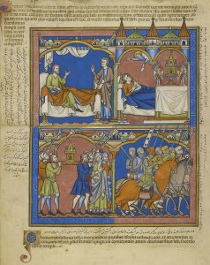 1. God calls to Samuel God calls to Samuel [right], and Samuel delivers the message to Eli that his house will fall [left] (top). The ark is brought from Shiloh to help win the battle (bottom). The Crusader Bible, MS M.638, fol. 20v. The Morgan Library & Museum. Purchased by J. P. Morgan, Jr., 1916.