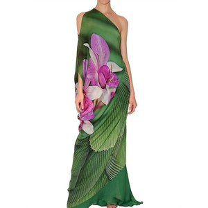 Long orchid print chiffon dress.