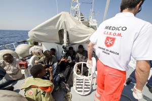 For the last seven years, Order of Malta medical teams have been embarked on ships of the Italian Navy to provide care to refugee 'boat people' in the Mediterranean. Photo: CISOM