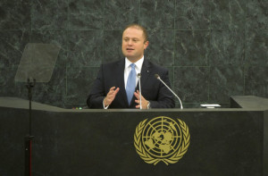 Prime Minister Joseph Muscat delivering his speech at the UN General Assembly
